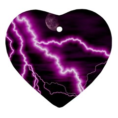 Purple Lightning Heart Ornament (two Sides)