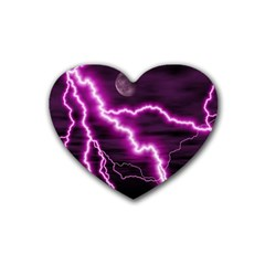 Purple Lightning Rubber Drinks Coaster (heart)
