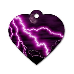 Purple Lightning Twin Sided Dog Tag (heart)