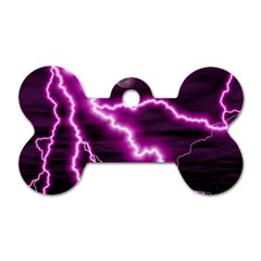 Purple Lightning Twin-sided Dog Tag (Bone)