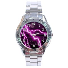 Purple Lightning Stainless Steel Analogue Watch (Round)