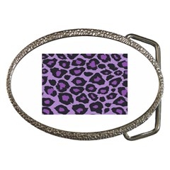 Purple Leopard Print Belt Buckle (Oval)