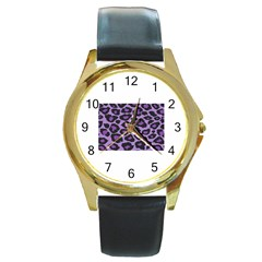 Purple Leopard Print Black Leather Gold Rim Watch (round)