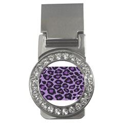 Purple Leopard Print Money Clip With Gemstones (round)