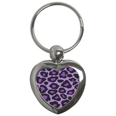 Purple Leopard Print Key Chain (Heart)