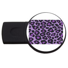 Purple Leopard Print 2Gb USB Flash Drive (Round)