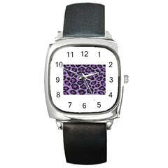 Purple Leopard Print Black Leather Watch (square)