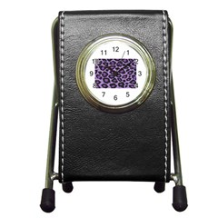 Purple Leopard Print Stationery Holder Clock