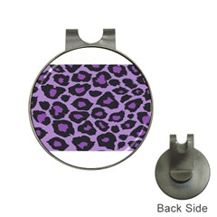 Purple Leopard Print Hat Clip with Golf Ball Marker