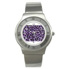 Purple Leopard Print Stainless Steel Watch (Round)