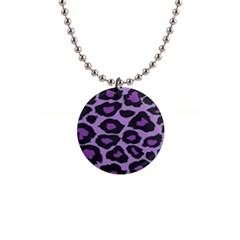 Purple Leopard Print Mini Button Necklace