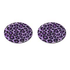 Purple Leopard Print Oval Cuff Links