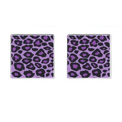 Purple Leopard Print Square Cuff Links