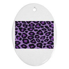 Purple Leopard Print Oval Ornament (two Sides)