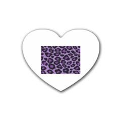 Purple Leopard Print Rubber Drinks Coaster (Heart)