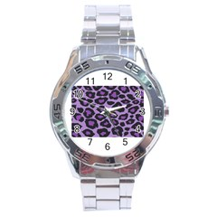 Purple Leopard Print Stainless Steel Analogue Watch (round)