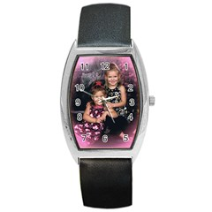 Grandbabies Black Leather Watch (Tonneau)