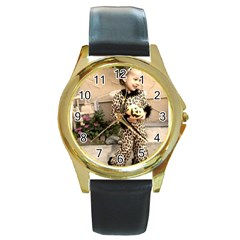 Trick Or Treat Baby Black Leather Gold Rim Watch (round)