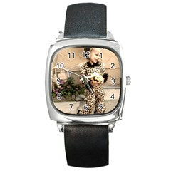 Trick or Treat Baby Black Leather Watch (Square)