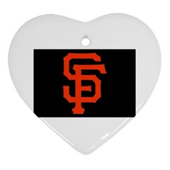 Sf Giants Logo Heart Ornament (two Sides)