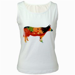 Tees Color Cow White Womens  Tank Top