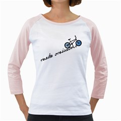 Tees Make Omissions White Long Sleeve Raglan Womens  T-shirt