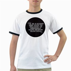 TeeMazing White Ringer Mens'' T-shirt