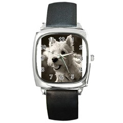 Westie.puppy Black Leather Watch (Square)