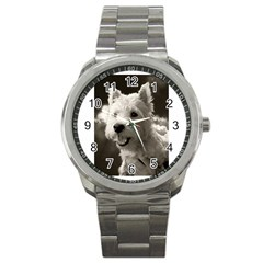 Westie Puppy Stainless Steel Sports Watch (round)