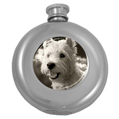 Westie.puppy Hip Flask (Round)