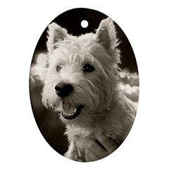 Westie Puppy Oval Ornament (two Sides)