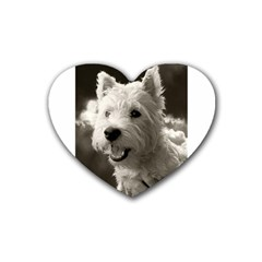 Westie Puppy Rubber Drinks Coaster (heart)