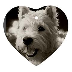 westie.puppy.heart Ceramic Ornament (Heart)