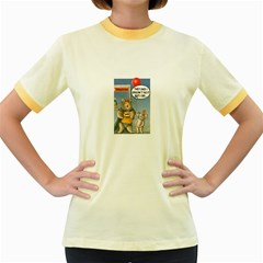 Wombat Woman Colored Ringer Womens  T Shirt