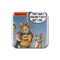 Wombat Woman Rubber Drinks Coaster (Square)