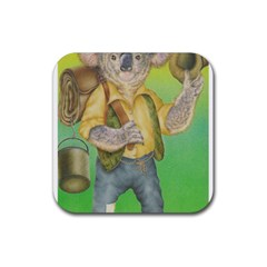 Green Gold Swaggie Rubber Drinks Coaster (square)