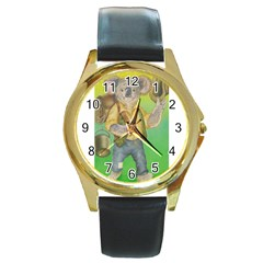 Green Gold Swaggie Black Leather Gold Rim Watch (round)