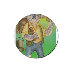 Green Gold Swaggie 4 Pack Rubber Drinks Coaster (Round)