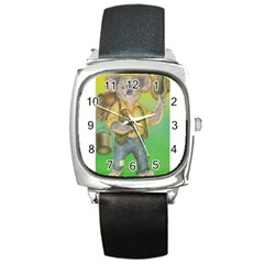 Green Gold Swaggie Black Leather Watch (square)
