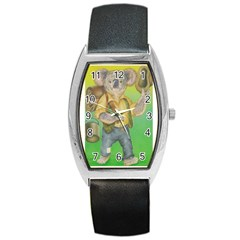 Green Gold Swaggie Black Leather Watch (Tonneau)