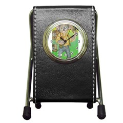 Green Gold Swaggie Stationery Holder Clock