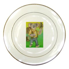 Green Gold Swaggie Porcelain Display Plate