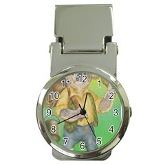 Green Gold Swaggie Chrome Money Clip with Watch