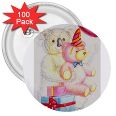 Koala And Bear  100 Pack Large Button (Round)