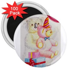 Koala And Bear  100 Pack Large Magnet (Round)