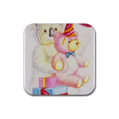 Koala And Bear  4 Pack Rubber Drinks Coaster (Square)