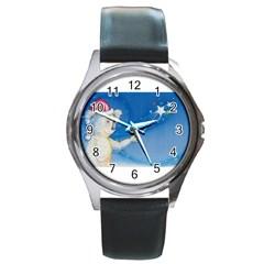 Santa Wand Koala Black Leather Watch (round)