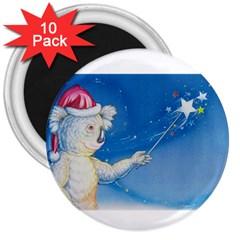 Santa Wand koala 10 Pack Large Magnet (Round)