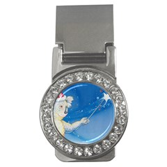 Santa Wand koala Money Clip with Gemstones (Round)
