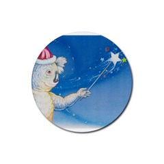 Santa Wand koala Rubber Drinks Coaster (Round)